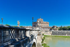 Angel Castle with bridge on Tiber river in Rome Royalty Free Stock Images
