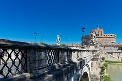 Angel Castle with bridge on Tiber river in Rome, Royalty Free Stock Images