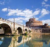 Angel Castle with bridge on Tiber river in Rome, Italy Stock Image