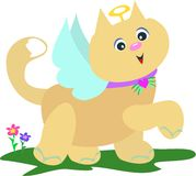 Angel Cat with Flowers Stock Images