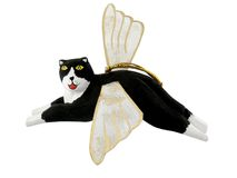 Angel Cat Ornament. Wooden Cat Angel Ornament; Whimsical, Hand-painted Christmas Ornament stock image