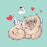 Angel cat vector illustration graphics. Stock Photography