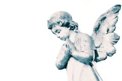 Free Angel Cherub Stone Statue Memorial Grave Headstone Isolated On A White Background. Royalty Free Stock Photo - 173810655