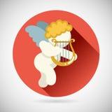 Angel Cherub Symbol Baby Boy avec l'icône de Lire d'harpe Images libres de droits