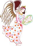 Angel with child. Line art work Royalty Free Stock Photo