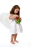Angel  child with Christmas present Stock Image