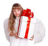 Angel child  with gift box. Angel little girl  with gift box. Isolated Stock Image