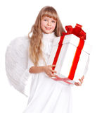 Angel child  with gift box. Angel little girl  with gift box. Isolated Stock Images