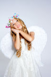 Angel children blond girl Stock Image