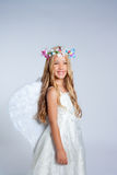 Angel children little girl fashion portrait Stock Photos