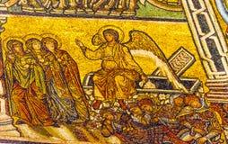 Angel Christ Resurrection Mosaic Dome Bapistry helgon John Florence Italy royaltyfria bilder