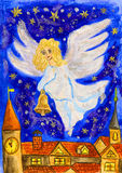 Angel with Christmas bell, painting royalty free stock image