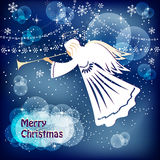 Angel. Christmas card with angel. Vector illustration Stock Photography