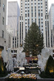 Angel Christmas Decorations and Christmas Tree at the Rockefeller Center in Midtown Manhattan Stock Photo