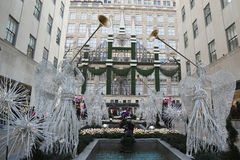Angel Christmas Decorations and Christmas Tree at the Rockefeller Center in Midtown Manhattan Royalty Free Stock Photography