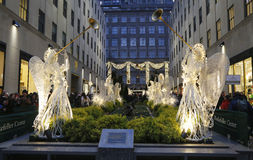 Angel Christmas Decorations at the Rockefeller Center in Midtown Manhattan Stock Photography