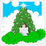 Angel Christmas greeting card. Christmas card, smiling angel and peace dove on Christmas tree royalty free illustration