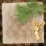 Angel christmas hanging. On the pine branch Stock Image