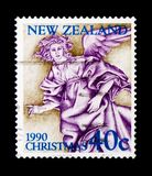 Angel, Christmas 1990 serie, circa 1990. MOSCOW, RUSSIA - NOVEMBER 23, 2017: A stamp printed in New Zealand shows Angel, Christmas 1990 serie, circa 1990 Royalty Free Stock Image