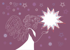 Angel with the Christmas star. Christmas background for congratulating on an angel and star Stock Photography