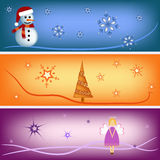 Angel, christmas tree and snowman bookmark set. Ngel, christmas tree and snowman  illustration greeting cards Royalty Free Stock Photo