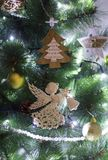 Angel on the Christmas tree. Christmas trees with toys stock images