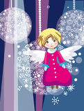 Angel on christmas tree. Vector graphic card with cute angel girl in christmas decoration Stock Photography
