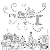 Angel. Christmas angel with a trumpet flies over the city vector illustration