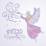 Angel. Christmas Angel with the trumpet flying in the sky - vector illustration stock illustration