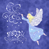 Angel. Christmas Angel with the trumpet flying in the sky - vector illustration vector illustration