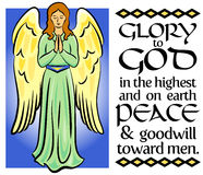 Angel Christmas Verse/eps. Calligraphy Christmas bible verse with illuminated angel illustration...Glory to God in the highest and on earth peace and goodwill royalty free illustration