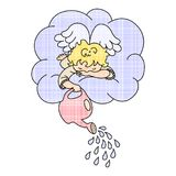 Angel on the cloud. Cute cartoon art. Cloud and watering. Vector illustration Royalty Free Stock Image