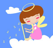 Angel on Cloud with Harp Stock Images