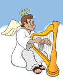 Angel. On clouds playing harp Stock Photo