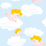 Angel and clouds seamless pattern. Cute little Holy babe.  Stock Photography