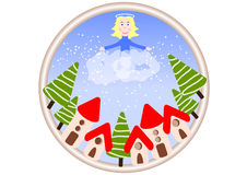 An angel in the clouds is throwing snow over the festive city. Christmas. New Year. Postcard in cartoon style Stock Photos