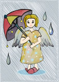Angel color with an umbrella in the rain. Illustration of an angel with two wings and yellow hair in a dress with stars, house slippers , in the rain with big Royalty Free Stock Photos