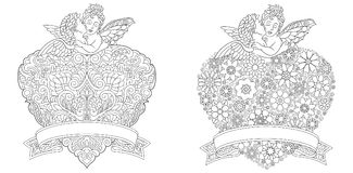 Zentangle angels and hearts Stock Photo
