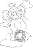 Angel coloring page Stock Image