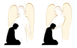 Angel Comforter. Silhouette of a female angel comforting afflicted man stock illustration