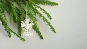 Angel. Crocheted christmas angel on Christmas tree stock video