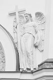 Angel with cross. Black and white. Royalty Free Stock Photography