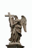 Angel with Cross Statue. Isolated Stock Image