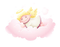 Angel cupid baby sleeping at cloud. Pretty Angel cupid baby with wings sleeping at pink fluffy cloud under nighttime sky Moon and stars cartoon isolated on white Royalty Free Stock Photo