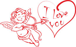 Angel Cupid with a bow and arrow shot in the heart that says I love you. in the vector to Valentine's day Royalty Free Stock Image