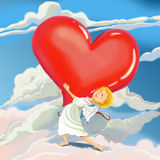 Angel Cupid brings heart of love. Angel Cupid brings heart of love and congratulates with Valentine's Day. Fantastic Cartoon Style stock illustration