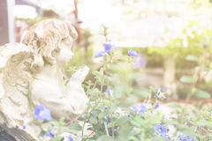 Angel Cupid dans le jardin Images libres de droits