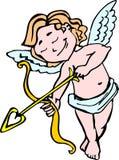 Angel Cupid de sorriso com curva e seta na cor para do dia de Valentim ilustração do vetor