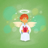 Angel Cupid Holding Present Saint Valentine Holiday do Valentim ilustração royalty free