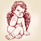 Angel or cupid, little baby greeting card hand drawn vector illustration realistic sketch Royalty Free Stock Photo